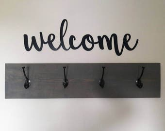 Welcome Sign, Metal Welcome Sign, Rustic Word Art Sign, Housewarming Gift Idea