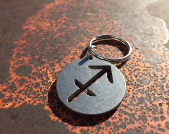 Stainless Steel Sagittarius Keychain, Zodiac Keychain, Astrology Keychain, Horoscope Keychain