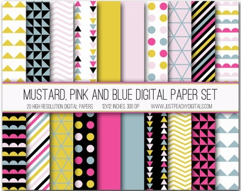 mustard, pink and blue modern digital scrapbook paper with geometric patterns