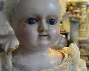 Rare Motschmann early wax antique doll with bamboo teeth.  All original