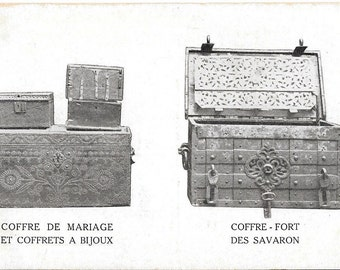 Coffre De Mariage - Et Coffrets A Bijoux - Ciffre - Fort Des Savaron, France, French Trunk/Chest Design, Unused circa 1900 Postcard