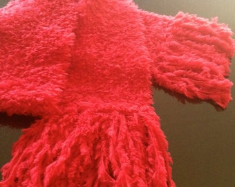 GetWoolly vibrant red fluffy handknitted, long scarf with tassels
