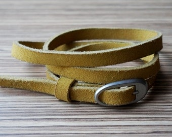 Mustard yellow skinny belt, double sided thick suede with matte silver oval buckle, large size narrow belt, vintage fashion accessories