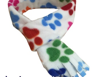 Quality Fleece Dog Scarf, Handmade in the UK, Dog Clothing, Paws Dog Scarf for Dogs