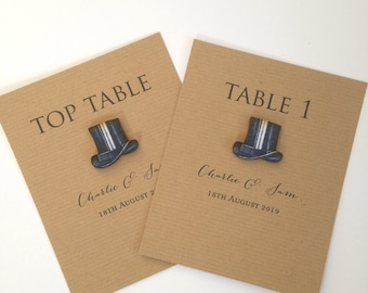 Top Hat Wedding Table Numbers, Top Hat Table Names, Table Numbers, Rustic Table Number