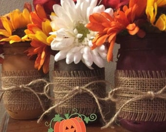 Fall mason jars, Fall, Thanksgiving, Country, Home decor, Mason jars, Centerpiece, Rustic, Vases, Burlap