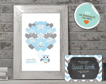 Owl Baby Shower Guest Book, Owl Guest Book, Blue, Gray, Chevron (Matches Chalkboard, Branch) | DIY