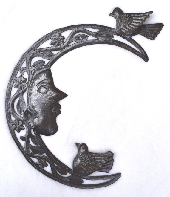 "Birds in the Moon Metal Hanging Wall Art from Haiti 9"" x 13"" SM855"