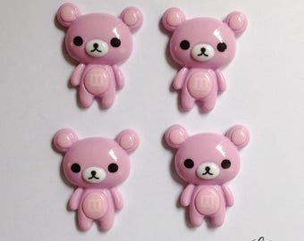 6 adorable bear cabochons flatbacks - C145