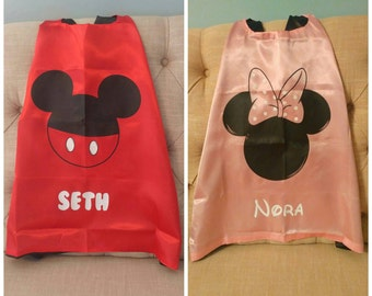 PERSONALIZED Minnie or Mickey Mouse Cape! Cape and Mask! Minnie Mouse Birthday! Mickey Mouse Birthday! Disney Vacation! Kids Disney!
