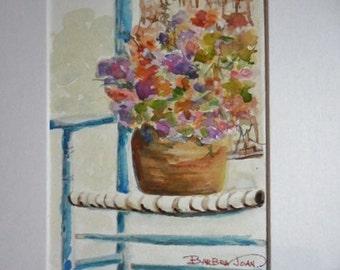 Watercolor flower basket, original watercolor, flowers, bouquet