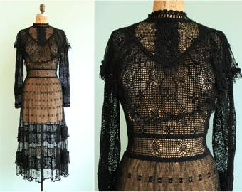 Vintage Edwardian Inspired Black Crochet Gown | Size S/M