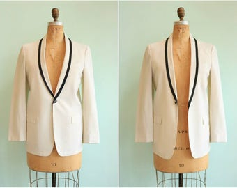 Vintage 1950s White Linen Tuxedo Jacket | Size Small/Medium