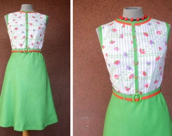 1960's Green Mod Girl Linen Mini Dress - Size S