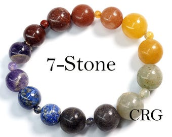 Round LARGE 7-STONE Beads Stretch Bracelet STYLE #2 (BR32DG)
