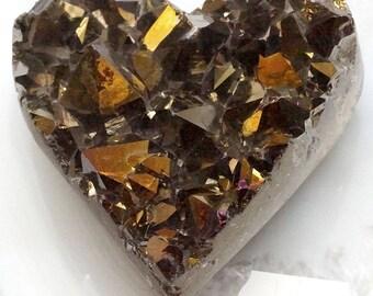 A-1541 Titanium Aura Quartz Crystal Heart 5.3 oz.