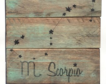 Scorpio Wood Sign - Reclaimed Wood Sign - Constellation Zodiac Sign
