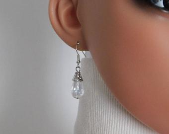 Silver Teardrops Earrings Necklace Set