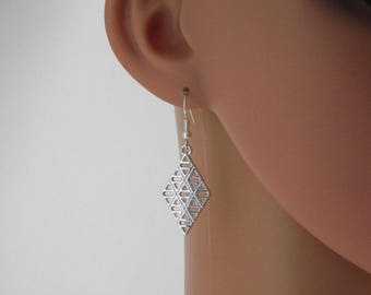 Silver Geometric Diamond Charms Earrings