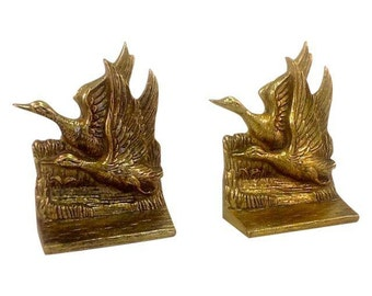 Solid Brass Flying Geese Bookends - Pair