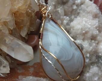 Botswana agate pendant, Wirewrapped Botswana agate pendant, Agate necklace, Wire wrapped gemstone cabochon pendant