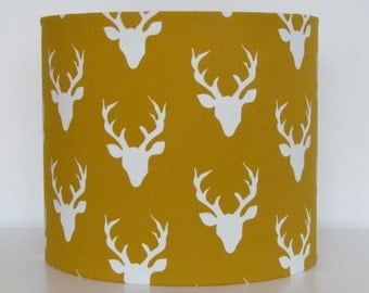 NEW Handmade Mustard Yellow Stags Head Country Fabric Drum Lampshade Lightshade
