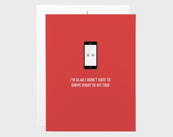 Funny Valentines Card | Funny Love Card | Swipe Right Card | Tinder Card | Valentines Card | Love Card | Anniversary Card