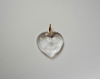 Vintage 1980's Cristal D'arques France Heart Shaped Pendant - Crystal and Gold