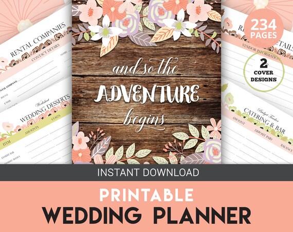 Printable Wedding Planner Binder Planning A Rustic: Wedding Planner Rustic Wedding Planner Wedding Organizer