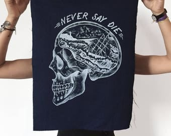 skull patch, Back patch, fabric sew on patch, goonies patch, skull punk patch, screenprint patch (dark blue), tattoo patch, never say die