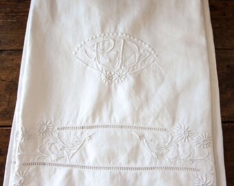 Vintage French Embroidered Bed Linen  Sheet- Monogrammed PD - Daisies - Unused Sheet - 82' x 122' - Free Shipping Within the USA