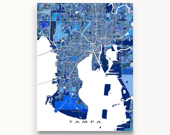 Tampa Map Art Print, Tampa Florida USA, City Map Poster