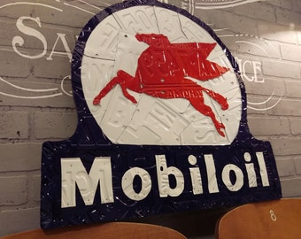 Mobil Oil Sign made from License Plates