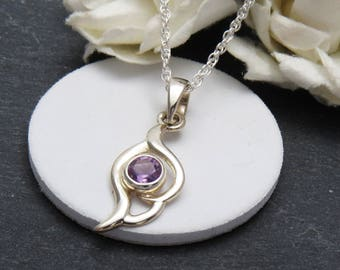 925 Sterling Silver Amethyst Pendant, Silver Amethyst Necklace, Purple Jewelry, February Birthstone, Gift for Her