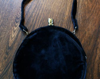 Small Black Velvet and Gold Round Vintage Evening Purse With Rhinestone Accent Kiss Closure Made in USA M-807