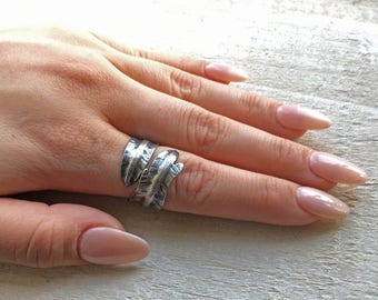 Oxidised silver ring, Silver leaf ring, statement organic ring, rustic woodland ring, Unique one of a kind wedding ring, wrap thumb ring