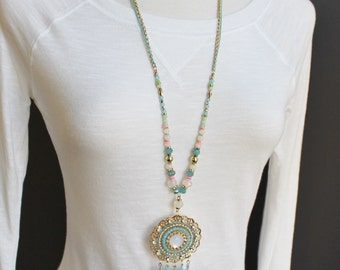 """gold turquoise necklace medallion dream catcher pendant necklace 30"""" long double chain statement fringe super extra long sweater length"""