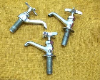 Vintage water faucet-old faucet lot-vintage valve faucets-old spigot-chrome faucets-mid century faucet-old sink faucet lot-industrial faucet