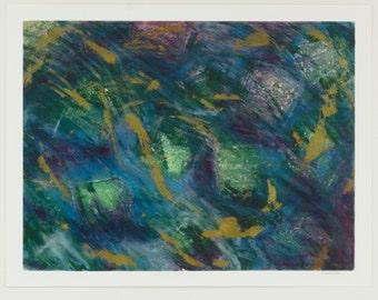 Undersea Green Mixed Media Print, Nancy Little Art, Abstract Art Print, Abstract Mixed Media Print, Mixed Media Print, Abstract Art