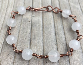 White Quartz Bracelet / Copper Bracelet / Wire Wrapped Bracelet