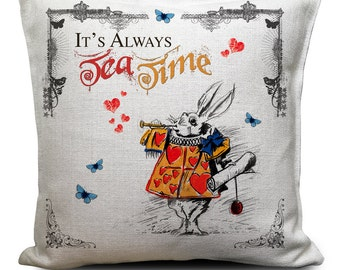Alice in Wonderland Cushion Pillow Cover - 40 x 40cm - Always Tea Time quote - The White Rabbit in Hearts Tabard - Mad Hatter Tea Party Prop