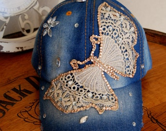 Embroidered Butterly Rhinestone Bedazzled Denim Distressed Baseball Cap, Adjustable Cap,  Crystal Baseball Hat