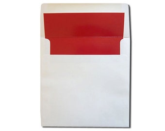 25 Square White with Red Lined Envelopes - CLEARANCE 10 CENTS EACH