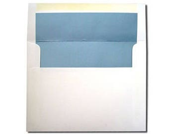 A7 ON SALE NOW - 20 White with Metallic Blue Pearl Lined Envelopes - A7 and A2 Sizes -  Shimmer Liner Paper