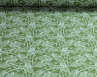 Fabric cotton elastane single jersey comfrey green feather white Oeko-Tex Standard 100