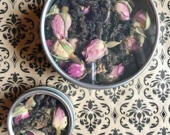 Oolong Rose Herbal Loose Tea Oolong Tea 4 oz tin rose flower and white tea leaves