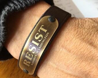"Etched Brass ""RESIST"" Leather Bracelet"