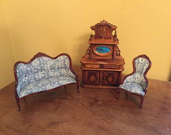 Vintage Victorian Minature Doll House Furniture/Miniature Buffet/Minaiture Victorian Settee and Chair