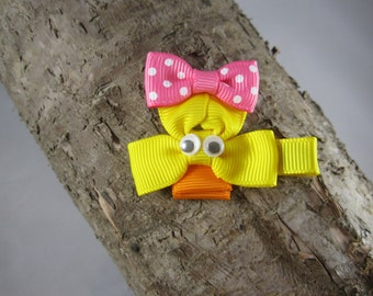 NEW duck with bow ribbon art hair clip