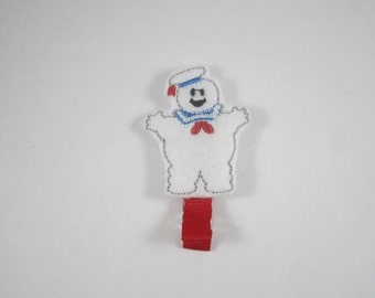 NEW Stay Puft marshmallow man Ghostbusters handmade felt embroidered hair clip